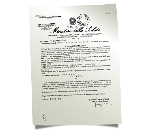 crtificato ministero della salute
