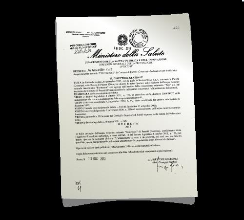 certificazione ministero della salute acqua oligominerale fontenoce