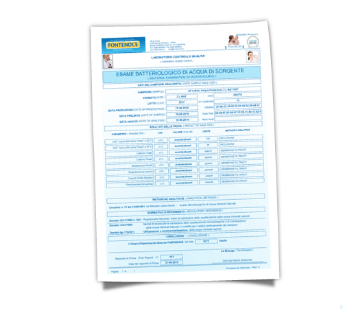 certificazione di qualità acqua fontenoce