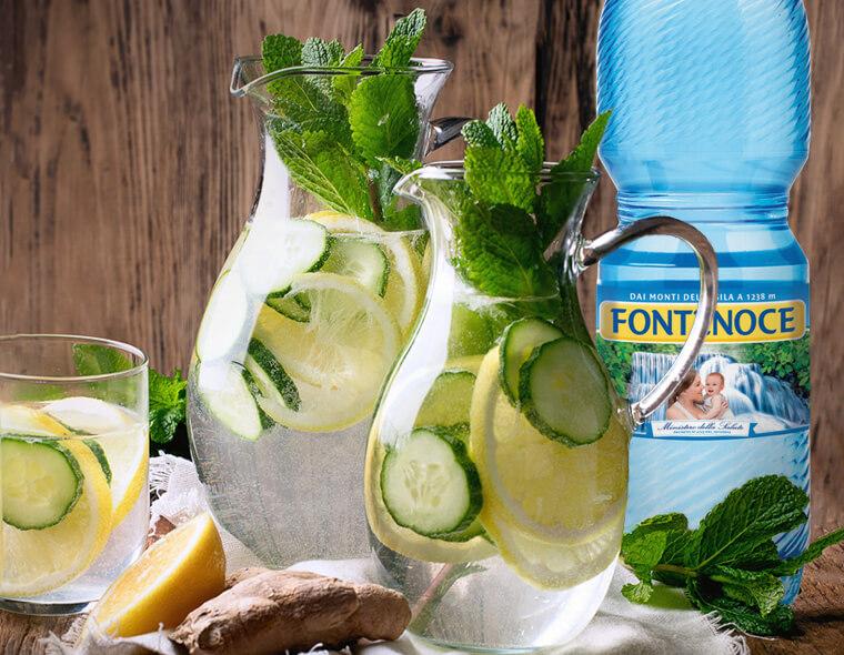 acqua detox limone zenzero cetriolo e menta
