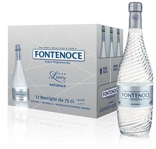 confezione acqua fontenoce linea Horeca luxury collection 12x75cl