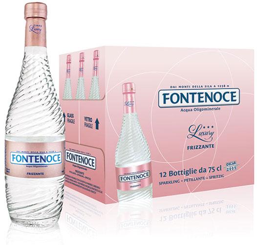 confezione acqua frizzante fontenoce linea Horeca luxury collection 12x75cl